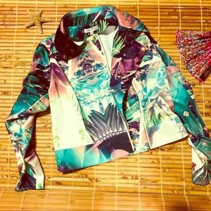 Jennifer Lopez Tropical print jacket womens Large